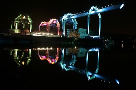 Luminale, Lichtkunstfestival, hier: Zollhafen, Mainz / Rhein. Foto: Sascha Kopp.